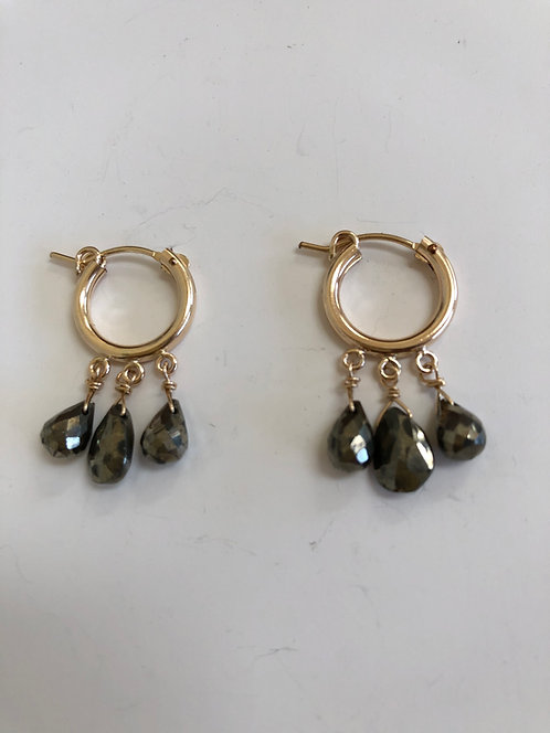14k gold filled hoops with pyrite drops