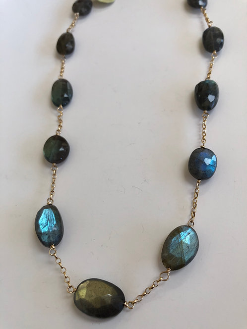 Labradorite disks with 14k gold filled chain