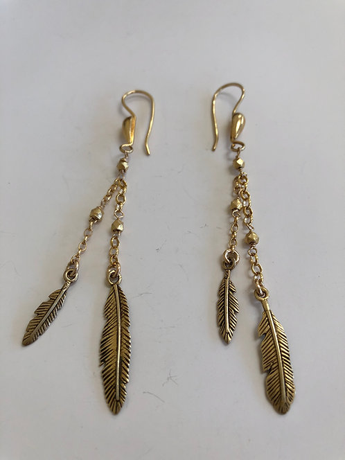 Vermeil feathers with 14k gold filled chain and vermeil ear wires