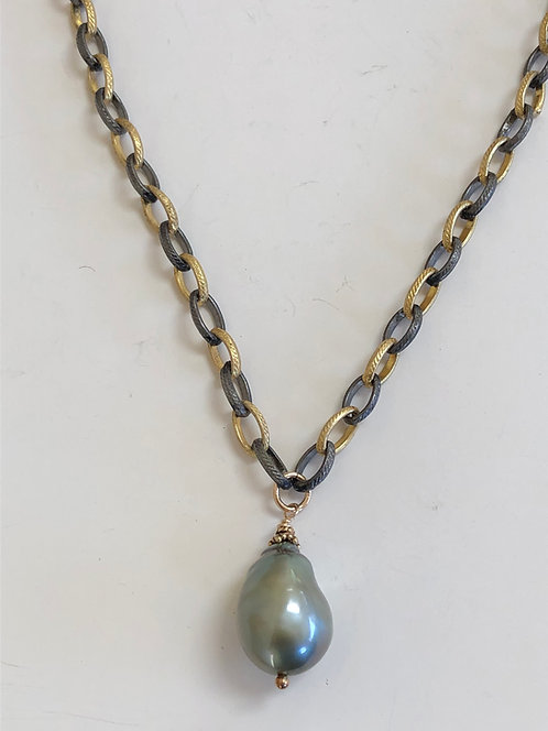 Tahitian pearl, mixed metal, oxidized sterling, and gold filled chain