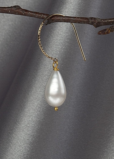 14k gold filled hammered large hoop with large pearl drop