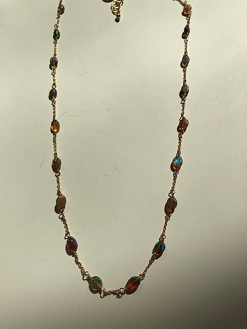 Multi color amber opals with 14K gold filled chain