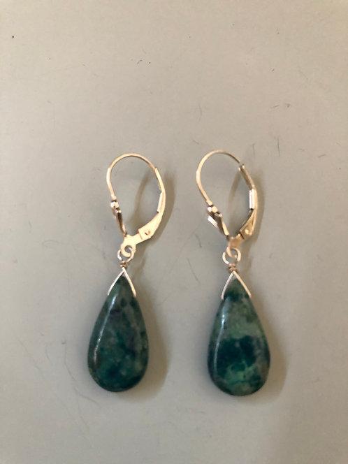 Blue chrysocolla drop earring  Sterling silver ear wire
