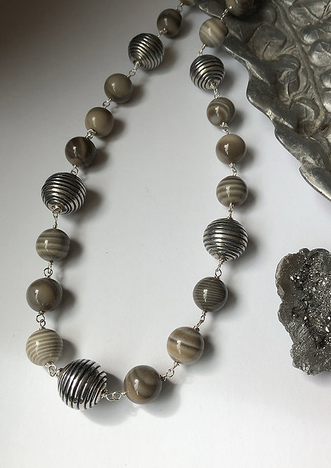 Flint stone and sterling silver wire wrap necklace