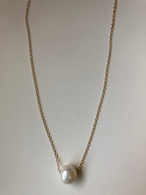 "16"" gold filled chain with pearl slider"