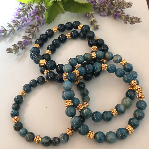 Apatite and gold plate beads stretch bracelets