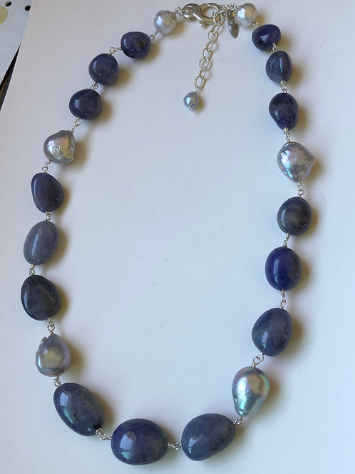 Large tanzanite with silver baroque pearls on sterling silver wire wrap