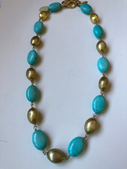Turquoise and gold plate beads with 14k gold filled wire