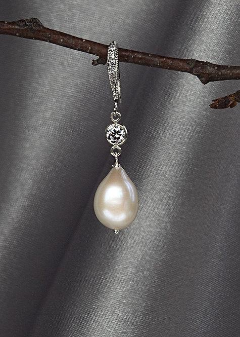 Sterling silver, cubic zirconium, pearl drop