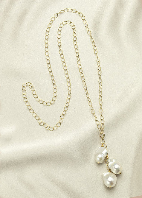 Unique 14k gold filled chain, with large baroque, freshwater pearls