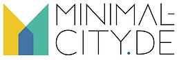Logo von der Seite minimal-city.de. Stilisiertes Haus in Gelb, balu und türkis