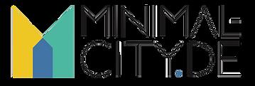 """Logo der Seite Minimal-city.de. Ein stilisiertes """"M"""" in Form eines Hauses in blau, türkis und gelb"""