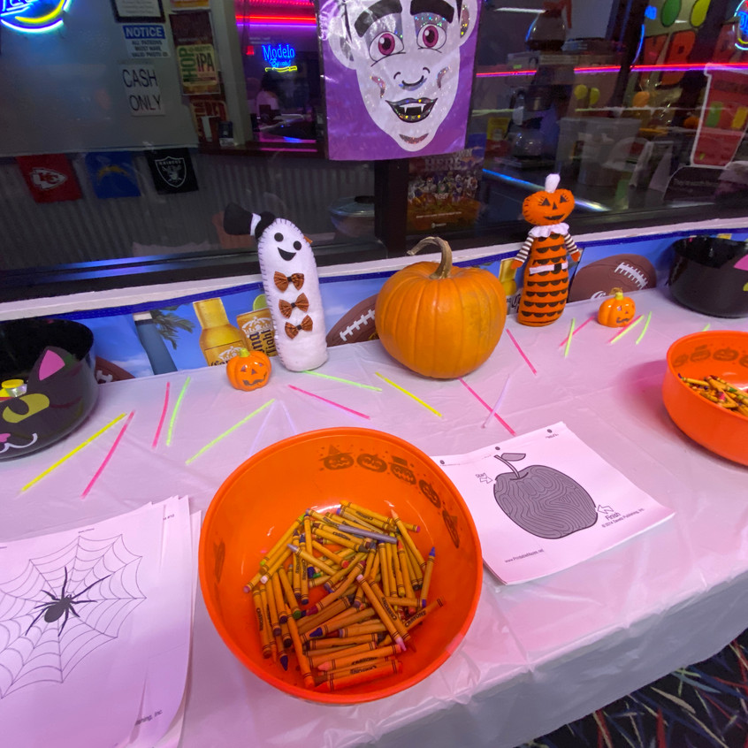 Coloring area for kids to color some Spooktacular art!!