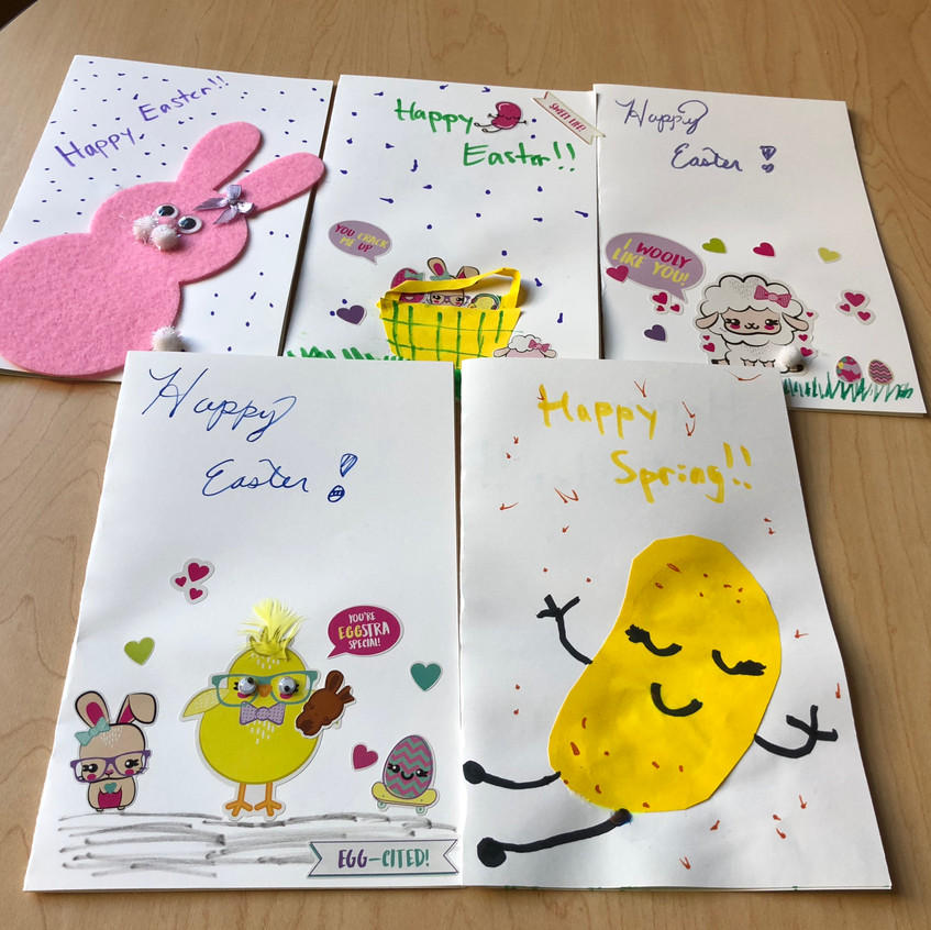 Handmade cards by volunteers thanks to the O'Neal family.