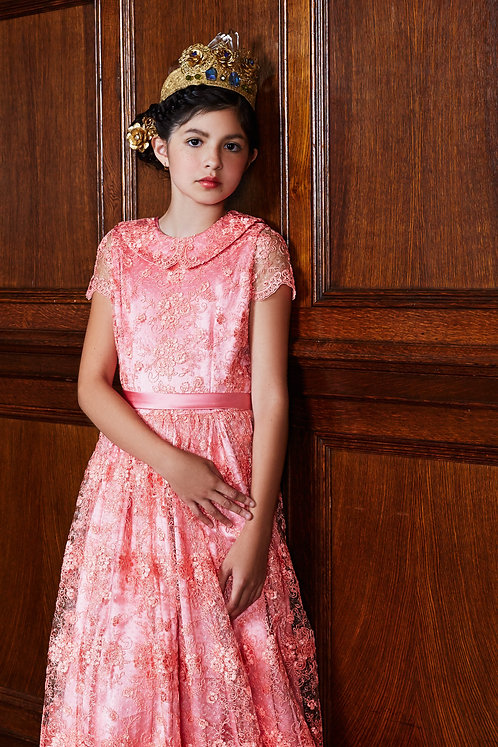 Royal Pink - Silk & Lace Floor Length Dress