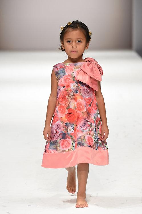 Royal Pink - Big shoulder bow floral dress