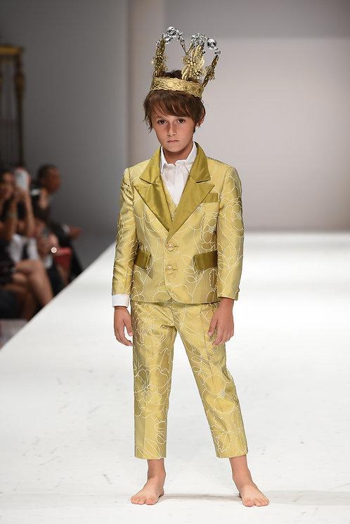 Silk Green Floral Suit - 3 piece