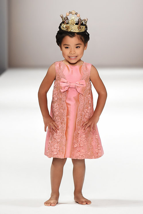 Royal Pink - Silk & Lace Front Bow Dress