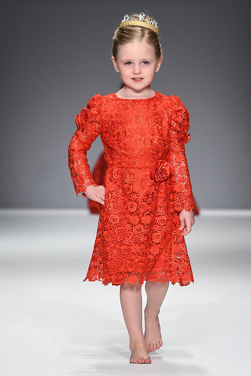 Royal Red Puff Long Sleeve Lace