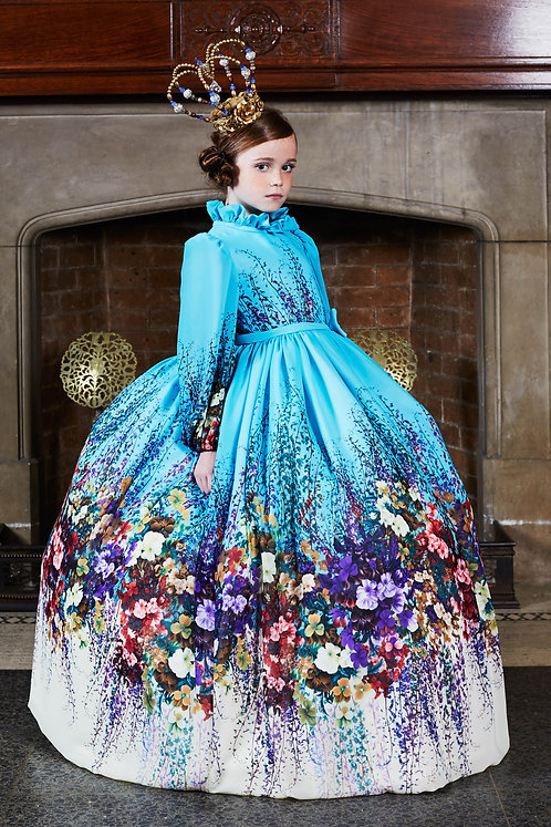 Floral High Collar Gown