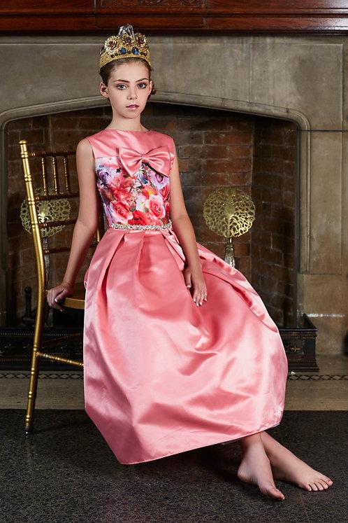 Royal Pink - Floral & Satin T-length Dress