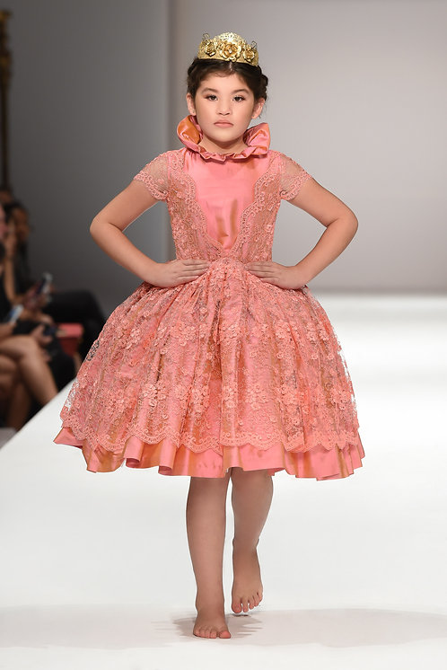 Royal Pink - Silk High Collar Lace Dress