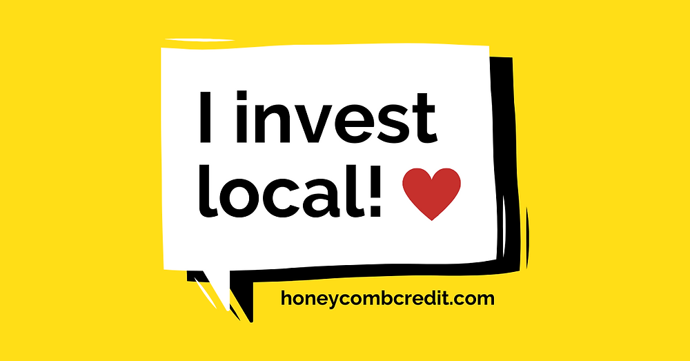 """Graphic of a speech bubble that reads """"I invest local!"""""""