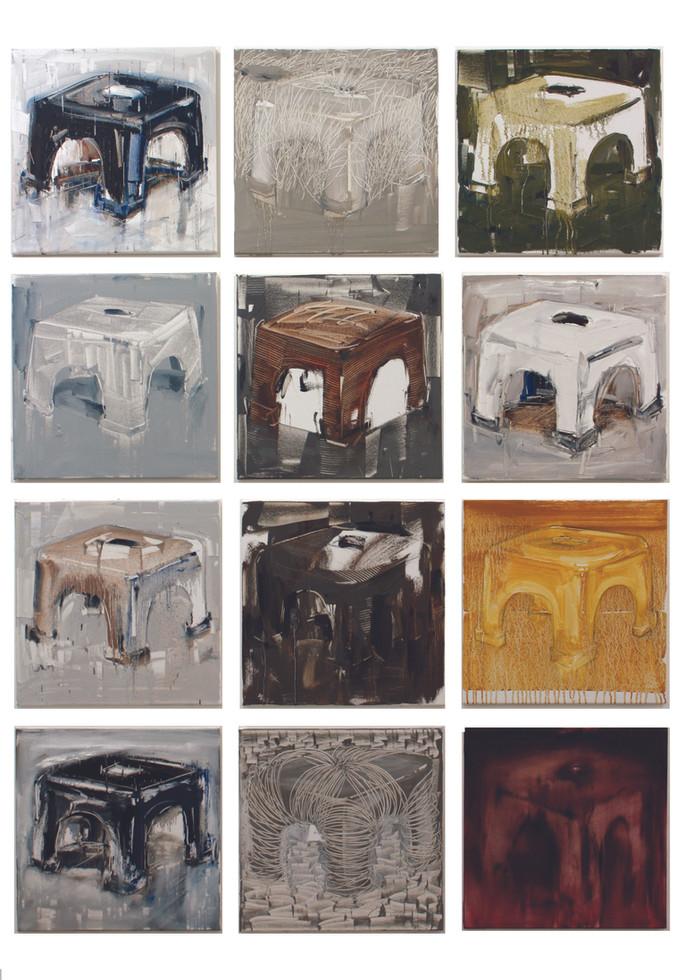 Twelve Apostles I, 2011, oil on linen, 46x46cm each. Nanyang Academy of Fine Arts Singapore collection
