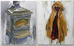 Stove & coat. 2011, oil on canvas, 76x61cm each
