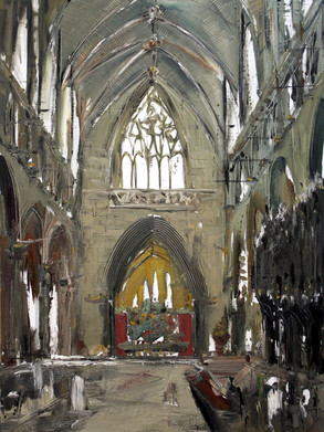 Chester Cathedral I, 2009, oil on canvas, 122x92cm. Yingu Art Mansion Beijing collection