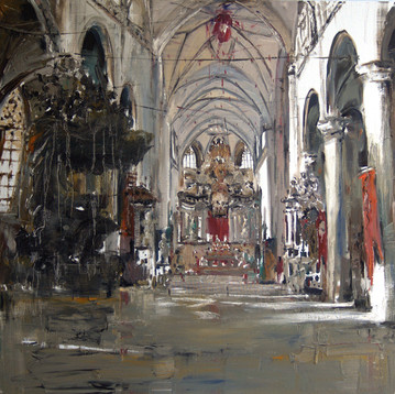 Lady of the Sablon Church, Brussel, 2007, oil on canvas, 130x130cm.