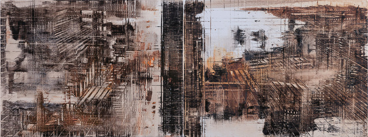 In Situ #11, 2018, oil on linen, 30x80cm (diptych). Private collection