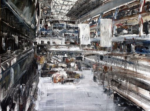 The Mall #23, 2011, oil on canvas, 112x150cm. Singapore Istana Art Collection.