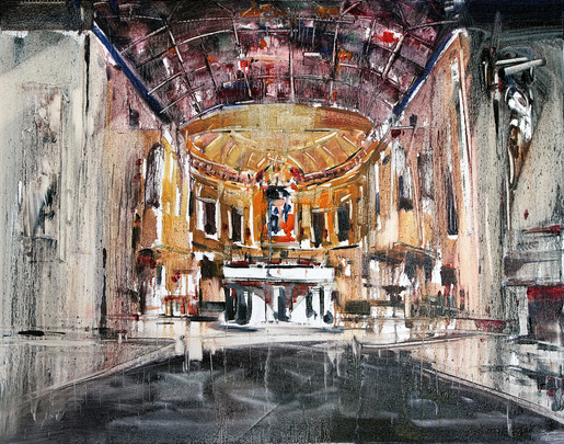 St Francis' Church, Melbourne, 2012, oil on canvas, 56x71cm. St Francis' Church Melbourne collection