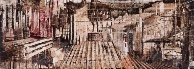 A Place Between Other Places #6, 2016, oil on jute, 47x132cm. Private collection