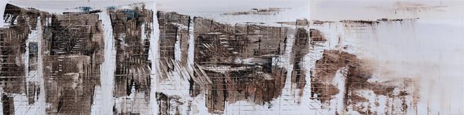 Boo Sze Yang. The Mirage #30, 2018, oil on linen, 30x120cm