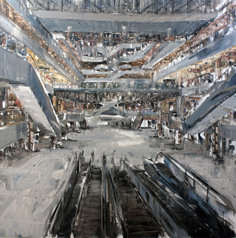 The Mall #19, 2011, oil on jute canvas, 180x180cm. Private collection