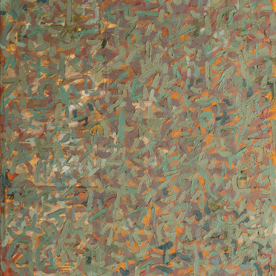 3 Letters, 1995, oil and collage on canvas, 56x46cm.