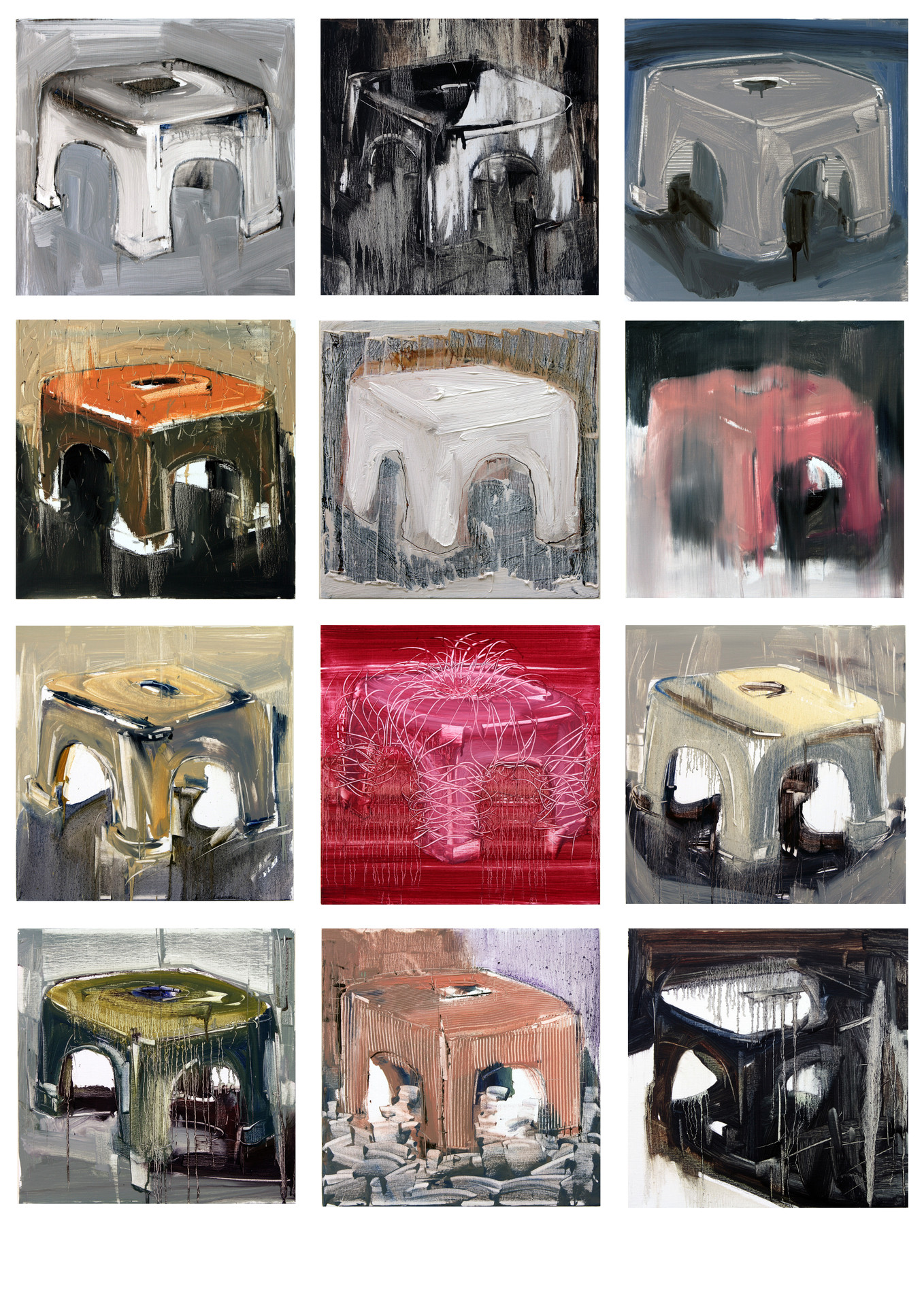 Twelve Apostles III. 2011, oil on canvas, 46x46cm each. Private collection