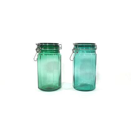 Bocal en verre vert ou bleu