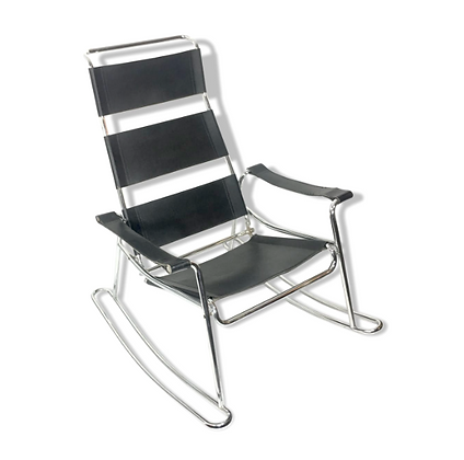 Rocking-chair cuir et métal Marcel Breuer