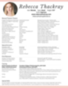 R.Thackray Performance Resume - Jan. 202