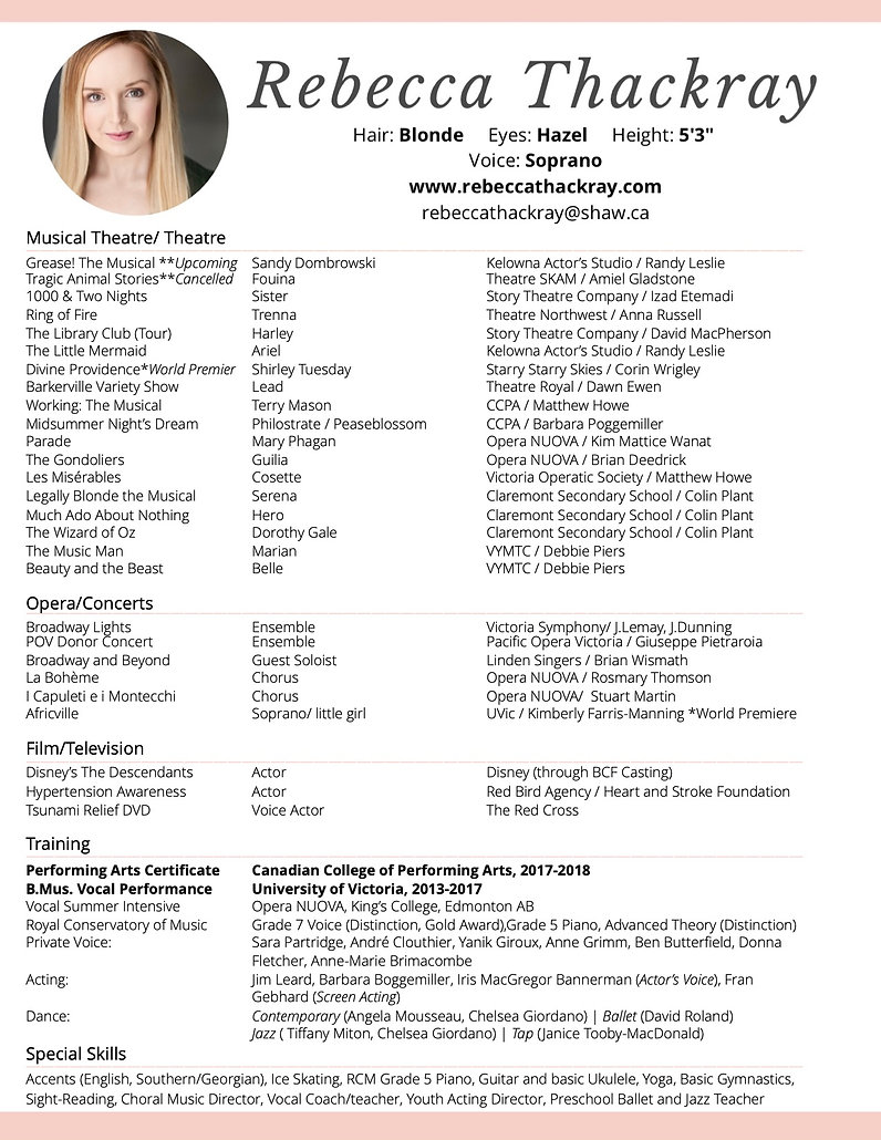 R.Thackray Performance Resume - June. 20
