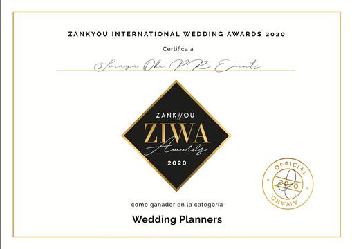 Diploma Ganador ZIWA 2020 Mejo Wedding P