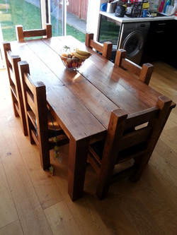 6ft Table and 6 Chairs Light Oak
