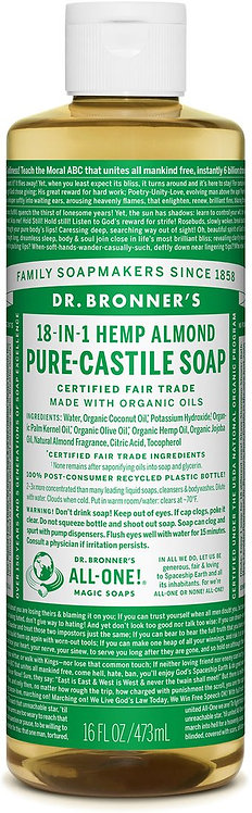 Dr Bronner's Pure Castile Liquid Soap - Almond - 473ml