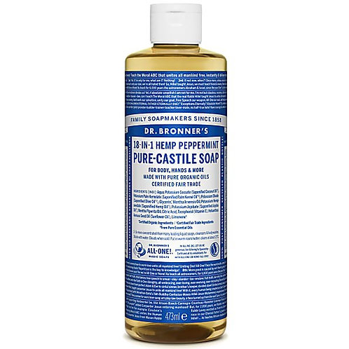 Dr Bronner's Peppermint Pure Castile Liquid Soap - 473ml
