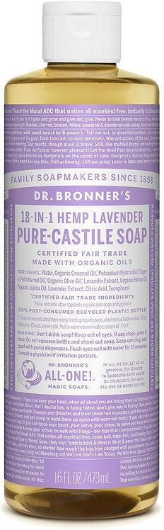 Dr Bronner's Pure Castile Liquid Soap - Lavender - 473ml