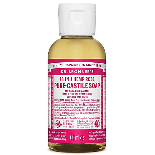 Dr Bronner's Pure Castile Liquid Soap - Rose - 60ml