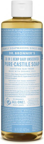 Dr Bronner's Pure Castile Liquid Soap - Unscented Baby Mild - 473ml